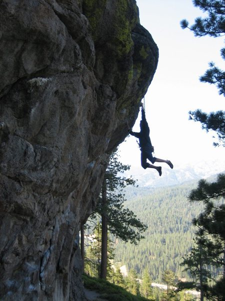 Rock Climbing Photo: Ray hangin' off the finish hold, Cali style!