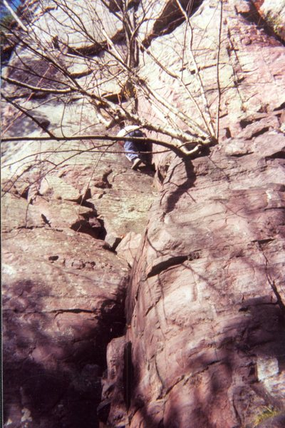 Me climbing the Birch Tree Dihedral route at Devils Lake