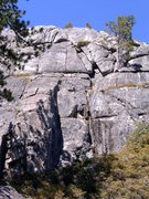 Rock Climbing Photo: Right facing corner is in the shadow  left of cent...
