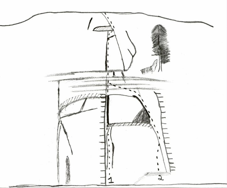 Rock Climbing Photo: Drawing of Grizzly Crack.