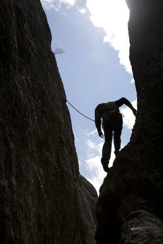 HJ Schmidt prepares to step onto the route at the bottom of Overexpsoure.