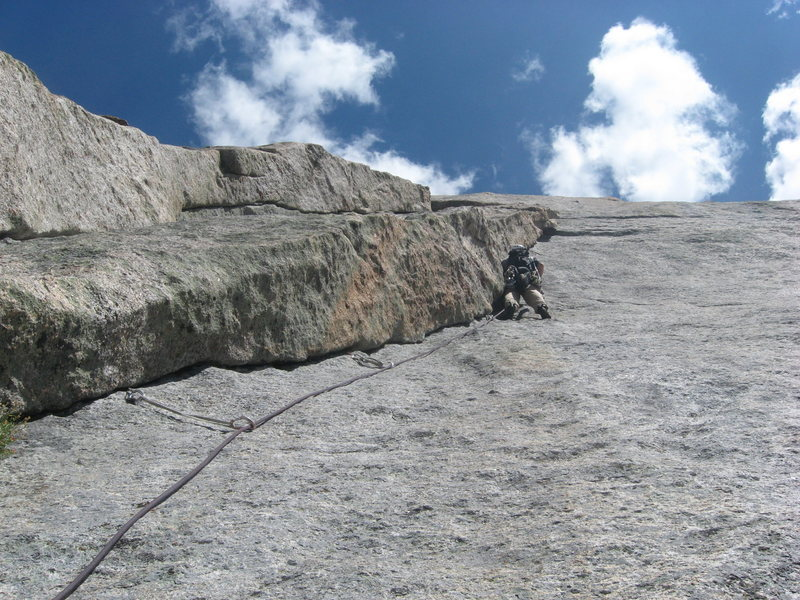 This is Ben Doyle leading the seventh pitch, one of the best pitches on the route.
