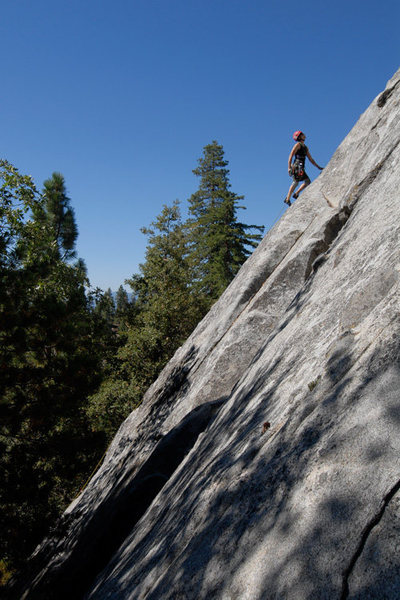 "A bakersfield ""local"" climbs a recently added route on Dome Rock."