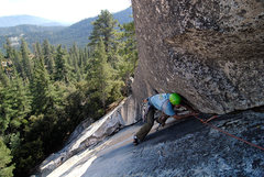 Rock Climbing Photo: Rob Chaney nears the top of pitch 1 of the Last Di...