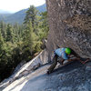 Rob Chaney nears the top of pitch 1 of the Last Dihedral at Dome Rock