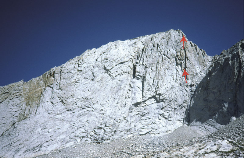 South face of Conness. The line of Friendly Muscle