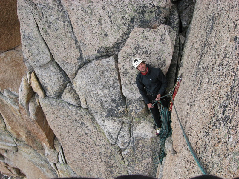 Rock Climbing Photo: Juan belaying me on P2 as I climb the splitter cra...