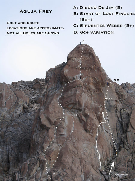 A general overview of some of the routes on Aguja Frey.  That is me on top and Juan  Carlos Quierolo climbing the last pitch of Sifuentes Weber.