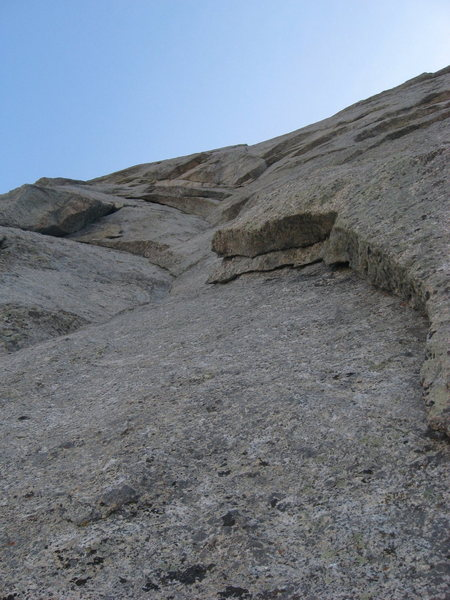 Rock Climbing Photo: Looking up at P5 from the large belay ledge.  The ...