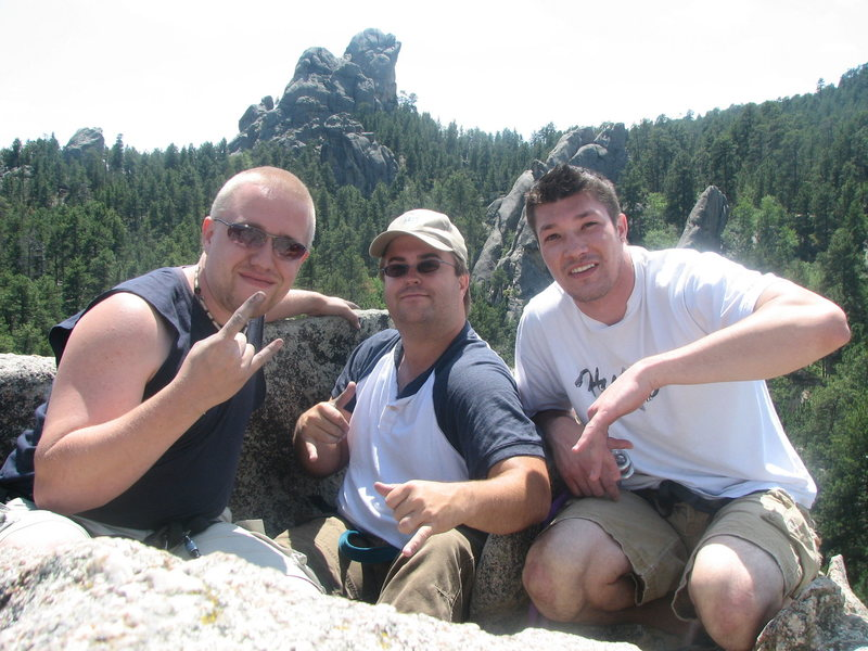 Rock Climbing Photo: Me, Scott and Pete at the top of waves.