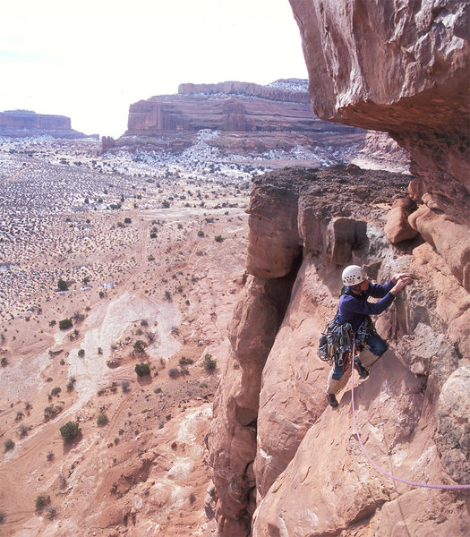 Ben on the R rated second pitch traverse.