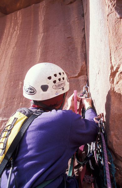 Rock Climbing Photo: The thin start to pitch three.  Also visible is on...