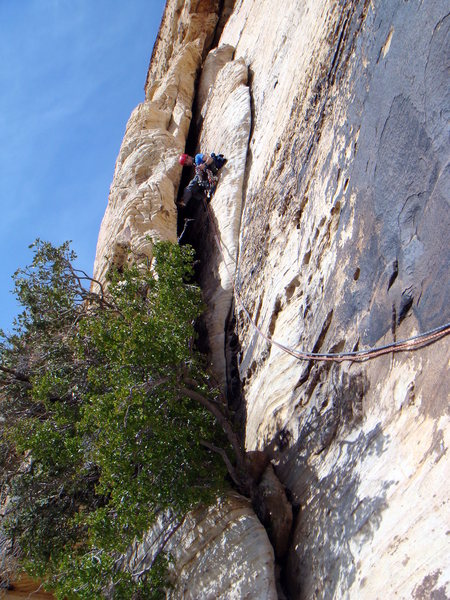 Rock Climbing Photo: Scoping out the pro on P2 of Solar Slab.  Photo by...