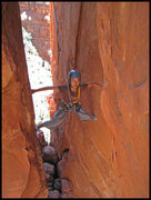 Rock Climbing Photo: Mei Ling stretching out on The Windows Route.  Con...