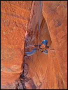 Rock Climbing Photo: Mei Ling starting to move out of the chimney on Th...