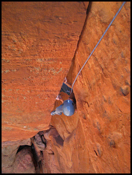 Rock Climbing Photo: Mei Ling transitions from chimney to corner on the...