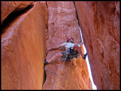 Rock Climbing Photo: Moving out of the chimney and getting ready to swi...