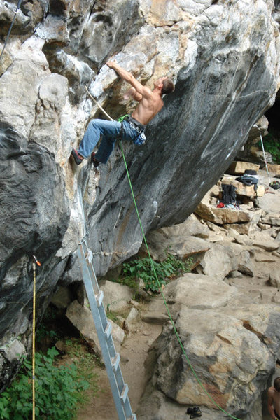 Rock Climbing Photo: Seth on the ladder start that gives access to so m...