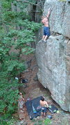 Rock Climbing Photo: exit left.  Don't step on detached block around le...