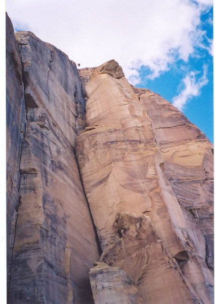The descent from Ozimandias..to the left of Horus Tower.. photo Layne Potter