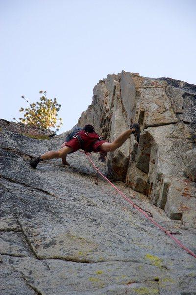 Stemming high up on D.D.D., 5.11a