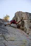 Rock Climbing Photo: Stemming high up on D.D.D., 5.11a