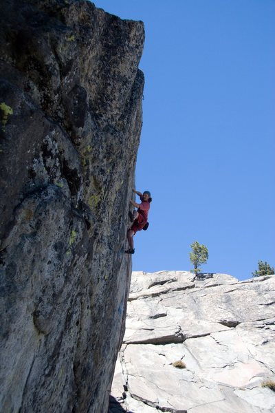 Enjoying the finishing moves on Goldilocks, 5.11a
