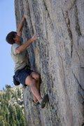 Rock Climbing Photo: Tucker pulling hard on the lower side pulls on Mam...
