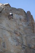 Rock Climbing Photo: Jeff cruising to the anchors on Hit and Run, 5.11b