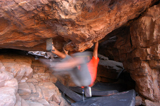 "But wait! There's more! Bouldering at Tamo gets steep with the ""Tunnel of Love"""