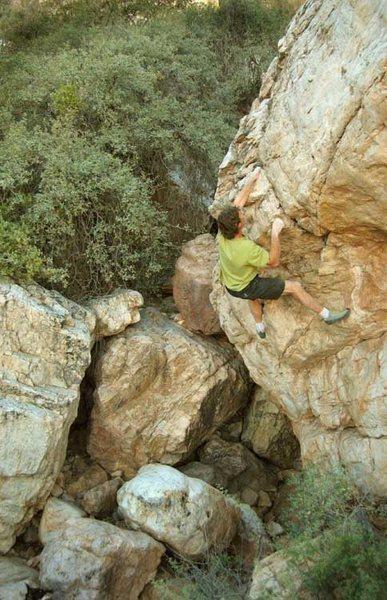 Rock Climbing Photo: Look Ma, no helmet!  A rare pic of John Sherman bo...