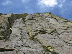 Rock Climbing Photo: Jim and Rodger on P1 of Soler to the left.  The ni...