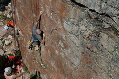 Rock Climbing Photo: Great Pocket, were my left hand is, can be matched...
