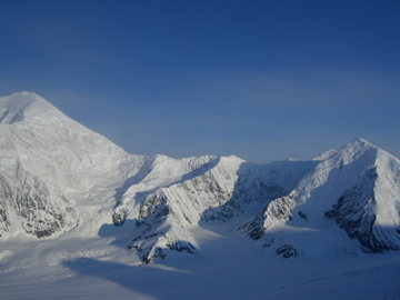Sultana Ridge of Mt Foraker as seen from Mt Hunter.  Foraker summit is on the left and Mt Crosson is on the right.