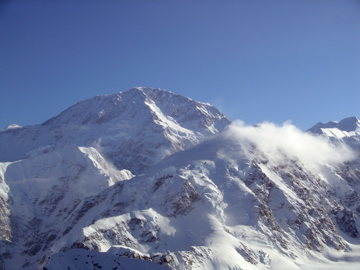 Rock Climbing Photo: Denali as seen from Mt Hunter.  The sun/shade line...