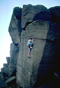 Rock Climbing Photo: Contemplating the last tricky sequence on The Knoc...