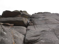 Rock Climbing Photo: Me approaching the 1st roof of the climb. The hard...