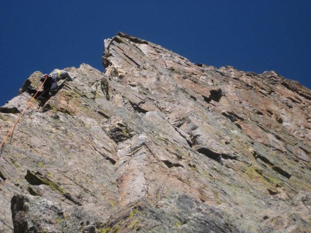 Rock Climbing Photo: approaching pizza pan belay on Petit G