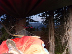Rock Climbing Photo: Our bivy site with a view of Isolation Peak (I hav...