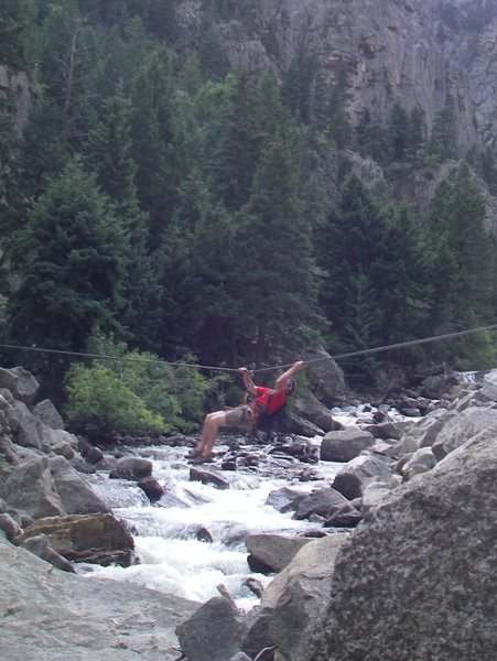 Tyrolean Traverse in Boulder Canyon on our way to Avalon