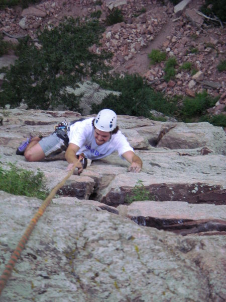 Rock Climbing Photo: Working the crack on Wind Ridge