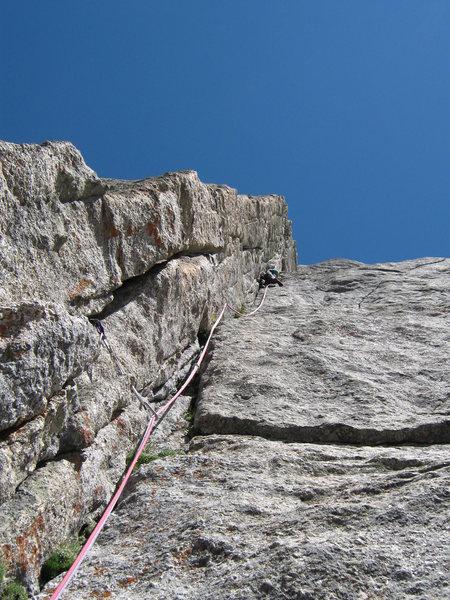 Rock Climbing Photo: John Bradford leading the dihedral pitch