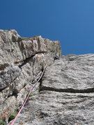 Rock Climbing Photo: John Bradford leading the dihedral pitch