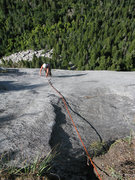 Rock Climbing Photo: Excellent slab climbing on pitch 5, House of Cards...