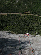Rock Climbing Photo: Maura on the final pitch of House of Cards, way ab...