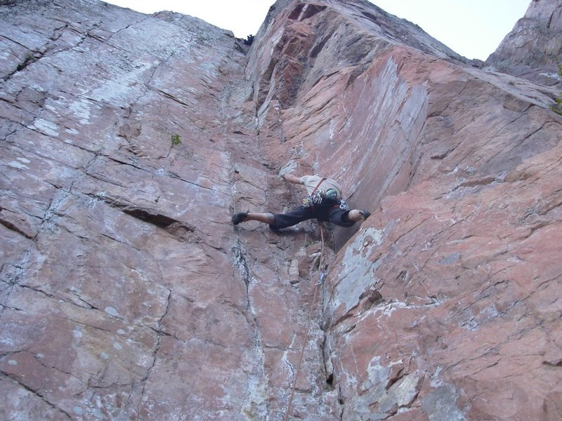 Chris Deulen 10 ft before the crux on Hidden Treasure.
