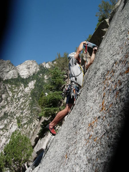The Pres drilling on lead for First Ascent of AY OH!<br>