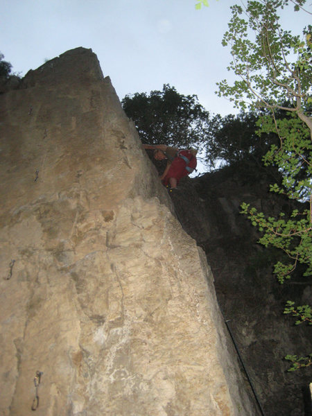 Leslie Allred on the tricky Buried Treasure (5.10a).