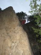 Rock Climbing Photo: Leslie Allred on the tricky Buried Treasure (5.10a...