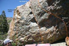 Rock Climbing Photo: The Only Boulder South Face (left) topo.
